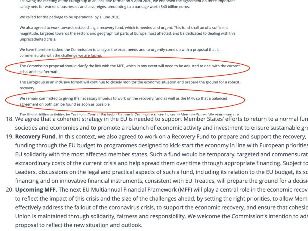 Lo screenshot di un frammento del o del report sulle misure economiche da adottare per la risposta al'emergenza COVID-19